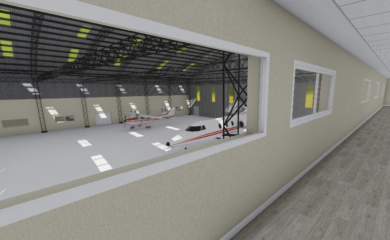 Así quedará el hangar del Aeropuerto de Viedma.